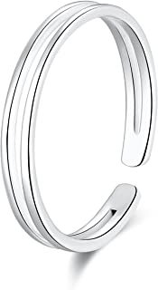 925 Sterling Silver Thin Line Minimalist Open Cuff Toe Ring Band Adjustable for Women Girls Size 2-4
