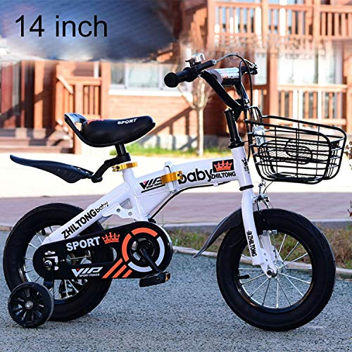 Luoshan ZHILTONG 5166 14 inch Foldable Portable Children Pedal Mountain Bike with Front Basket & Bell, Recommended Height: 100-115cm(Pink) (Color : White)