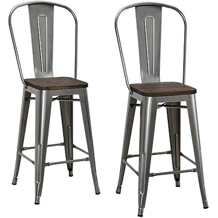 Amazon Com Dhp Luxor 30 Wood Seat Set Of 2 Bar Stool Antique Gun Metal Furniture Decor