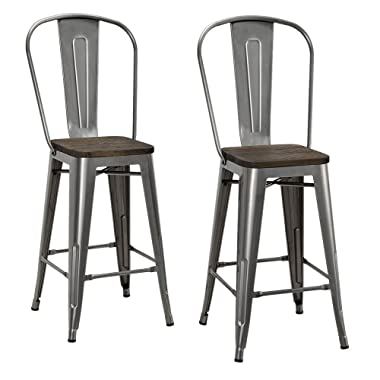 DHP Luxor Counter Stool with Wood Seat and Backrest, 24 , Antique Gun Metal