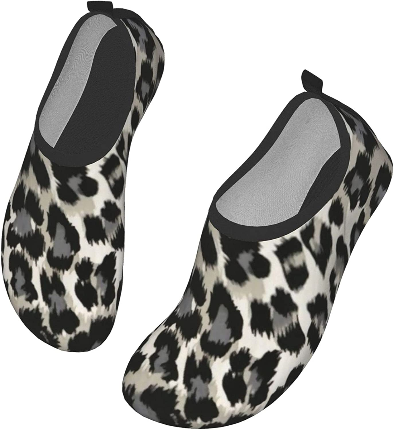 Grey Black Leopard Pattern Animal Print Water Shoes Women's Men's Outdoor Beach Swimming Aqua Socks Quick-Dry Barefoot Shoes Surfing Yoga Pool Exercise