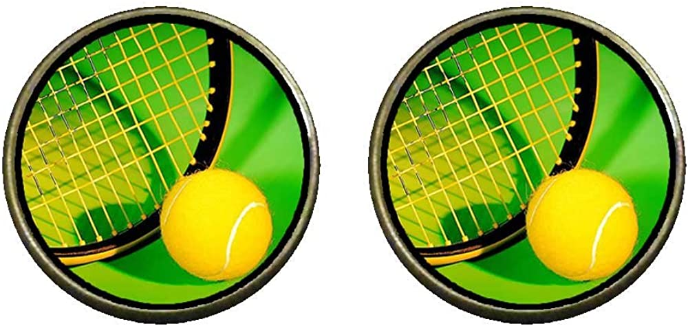 GiftJewelryShop Bronze Retro Style Olympics tennis ball and racket Photo Clip On Earrings 14mm Diameter