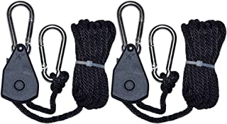 """Lxyoug Horticulture 1/8"""" Grow Light Heavy Duty Adjustable Rope Hanger with 6.8 Feet Braided Rope at 150 lbs Capacity per Pair"""