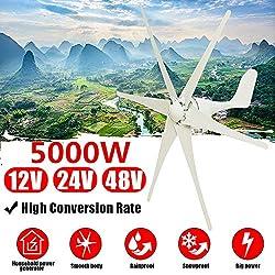 TQ 5000W Windgenerator + Regler 12V / 24V / 48V 6 Blade-Windkraftanlagen Horizontale Startseite Powers Windmühle Energieanlagen Lade,Weiß,48v