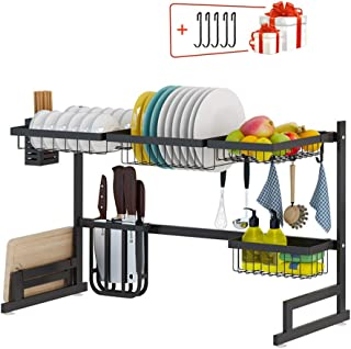 """Buringer Over Sink Dish Drying Rack with 5 Hooks(SINK<32.5""""), Stainless Steel 2 Tier Multifunctional Large Dish Dryer Rack for Kitchen Organizer Storage Non-slip Tableware Drainer (Black)"""