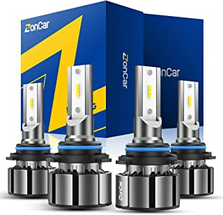 ZonCar 9005/HB3 9006/HB4 LED Headlight Bulbs, High beam/Low Beam Halogen Replacement, 16000LM 6500K Cool White Super Bright LED Headlights Conversion Kits 4 Pack