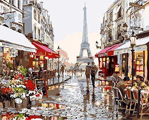 Pintar por números para Adultos Paisaje de París - Pintura para Pintar por números con Pinceles y Colores Brillantes Cuadro de Lienzo con numeros pre Dibujado fácil de Pintar