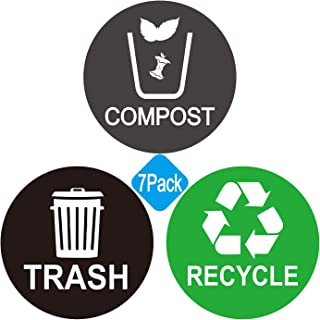 Recycle and Trash bin Logo Stickers - Recycle Sticker Trash Compost Can - Organize Trash - for Metal or Plastic Garbage cans, containers and Bins - Indoor & Outdoor - Home, Kitchen, or Office - 7 Pack