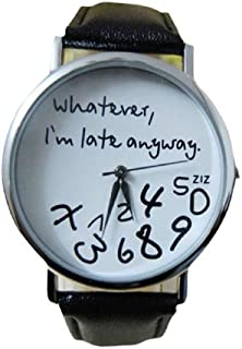 Bolayu New Hot Women Leather Watch Whatever I am Late Anyway Letter Watches Black