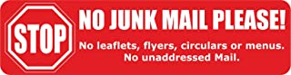 INDIGOS UG - Sticker/Bumper - No Junk Mail Sticker Set - red - Self-Adhesive Sign for Door or Letterbox 99x26 mm - 2 Pieces