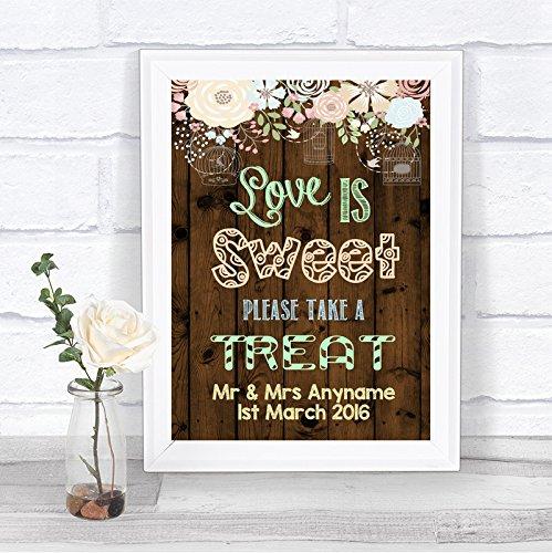 Rustiek Hout Effect Liefde Is Zoete Snoep Buffet Gepersonaliseerde Bruiloft Teken Print Framed Oak Small Black/Gold/White