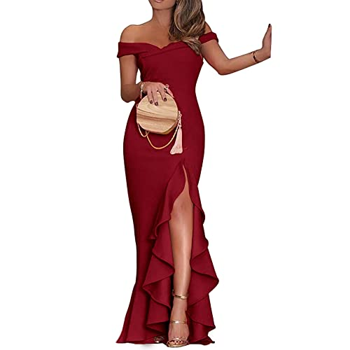 e8f9245b33d08 PRETTYGARDEN Women's 2019 Off Shoulder Side Split Slim Evening Maxi Party  Dress