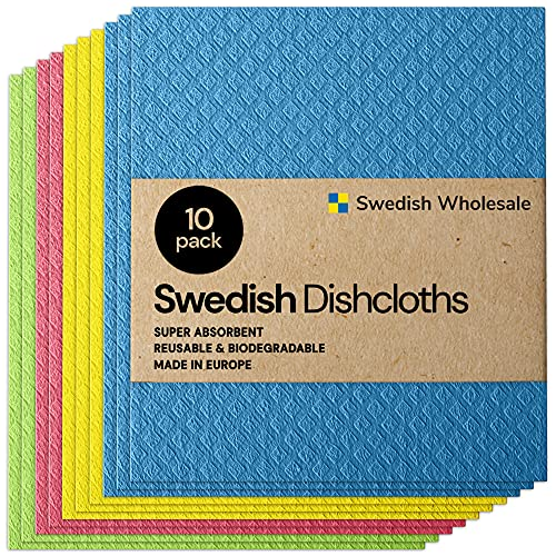Swedish Wholesale Swedish Dish Cloths - Pack of 10, Reusable, Absorbent Hand Towels for Kitchen, Bathroom and Cleaning Counters - Cellulose Sponge Cloth - Assorted