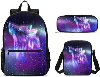 Wolf Backpack for Boys Girls Kids Children School Book Bag with Shouder Bag Pencil Case 3 Piece Set
