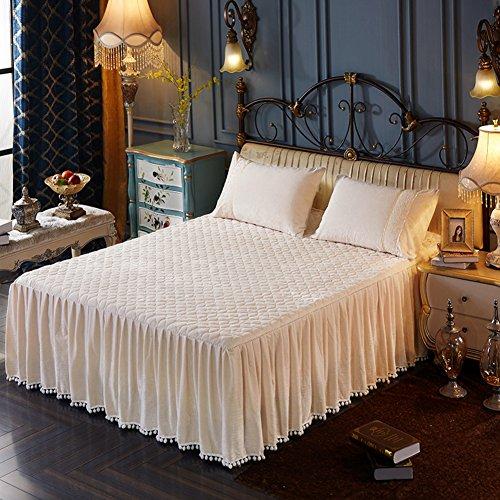 LAOSXNZHE Bettrock Tagesdecke Halten sie warm Bett Sets Koreanische Version Crystal samt Gesteppt Verdicken sie-C 200x220cm(79x87inch) Version A