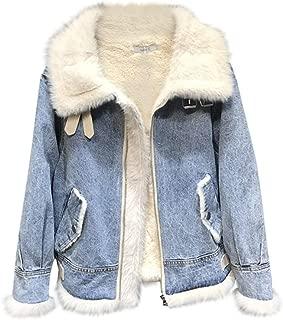 E-Scenery Fashion Denim Coat Women Winter Warm Thick Lamb Faux Fur Jacket Outwear