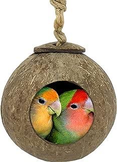 TIHOOD Coconut Bird Nest,Natural Coconut Shell Bird Nest House Hut Cage for Pet Parrot Budgies Parakeet