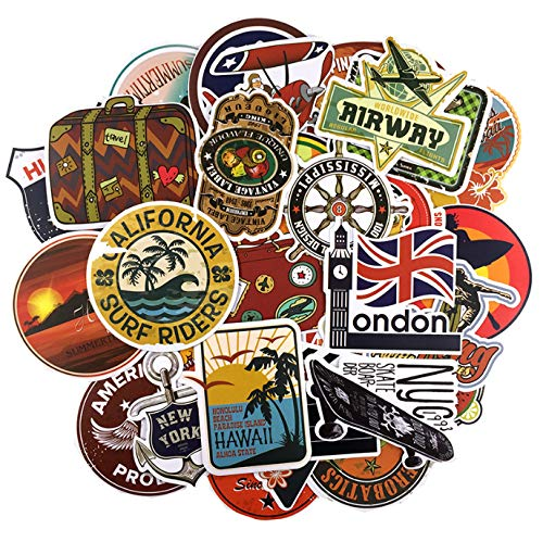 DZCYAN 46pc/Lot Round The World Travel Retro Hotel Stickers for Luggage Suitcase Skateboard Motor Waterproof Stickers