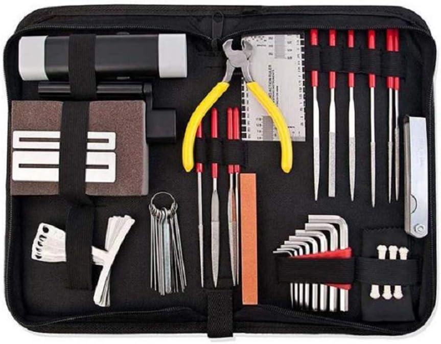 IWILCS Juego de 45 herramientas de reparación de guitarra, juego de herramientas para el cuidado de guitarras, medidores de calibre y llaves Allen para guitarra, ukelele, bajo, mandolina