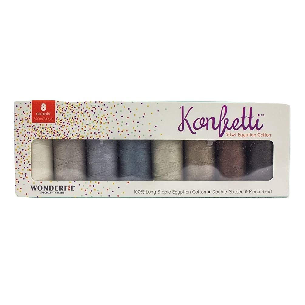 WonderFil, Specialty Threads, Konfetti, 3-Ply 100% Long Staple Double-Gassed Egyptian Cotton Thread, Sand & Sea Glass - Set of 8