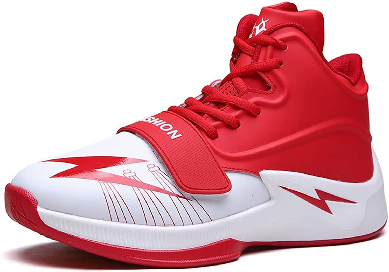 ZHRUI Men Basketball shoes Breathable Outdoor Sneakers Athletic Training Non-Slip Ankle Sport Boots (color   Red, Size   10=45 EU)