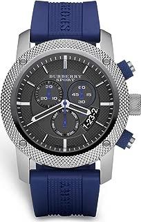 Burberry Sport Swiss Chronograph Watch Unisex Men Women Blue Rubber Silicone Black Date Dial BU7711