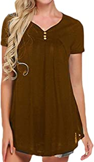 GAGA Women's Casual V-Neck Short Sleeve Henley Pleated Tunic Shirt Blouse Tops