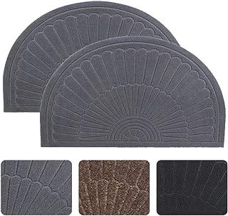 Half Round Door Mat Entrance Rug Floor Mats Set of 2, Waterproof Floor Mat Shoes Scraper Doormat, 18''x30'' Patio Rug Dirt Debris Mud Trapper Out Door Mat Low Profile Washable Carpet (Gray-2 Pack)