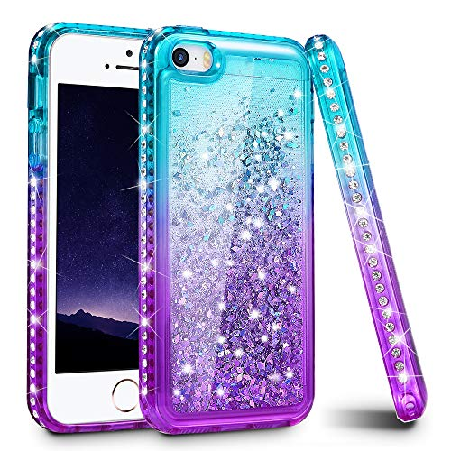 Ruky iPhone 5 5S Case, iPhone SE Case (2016), Gradient Quicksand Series Glitter Flowing Liquid Floating Sparkly Bling Diamond Soft TPU Girls Women Cute Case for iPhone 5 5S SE (Aqua Purple)