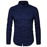 MUSE FATH Men's Button Down Dress Shirt-Cotton Casual Long Sleeve Shirt-Party Dress Shirt-Navy Blue-L