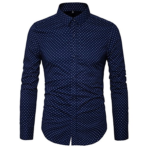 MUSE FATH Men's Button Down Dress Shirt-Cotton Casual Long Sleeve Shirt-Party Dress Shirt-Navy Blue-L