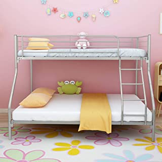 DUMEE Twin Over Twin Classic Metal Bunk Bed with Dual Ladders Easy Assembly for Children Kids Silver Finish