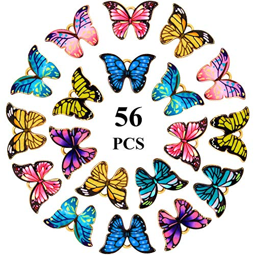 56 Pieces Enamel Butterfly Pendant Charms Enamel Butterfly Dangle for DIY Handmade Charms Necklace Bracelets Accessories