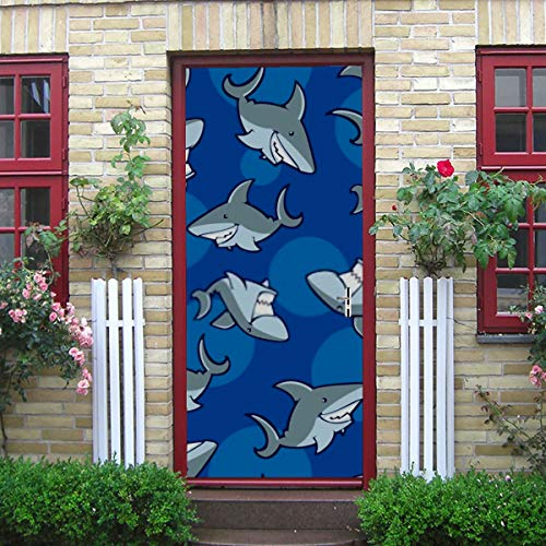 ZANSENG Moderne Kunst 3D Türaufkleber, Hai Muster Peel und Stick abnehmbare Vinyl Tür Aufkleber für Wohnkultur, 30,3