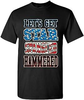 Let 's Get Star Spangled martillado diseño de bandera de camiseta camisetas