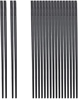 10 Pairs of Fiberglass Chopsticks, Reusable Non-Slip Textured Chopsticks, Dishwasher Safe, 9 1/2 Inch - Black (Black)