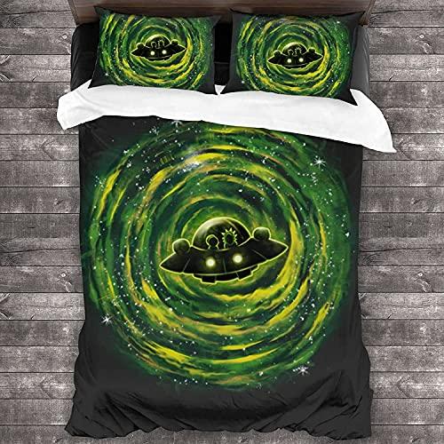 XYQXKG Rick and Morty - Juego de ropa de cama para niños y niñas, diseño de anime, 3 piezas, con 2 fundas de almohada (A2, 200 x 200 cm + 80 x 80 cm x 2)