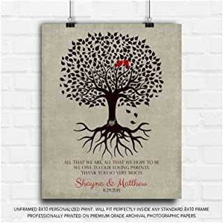 Thank You Gift for Parents Personalized Family Tree Roots All That We are Loving Parents Mother of Groom or Bride Wedding Poem, Gift for Mom and Dad - 8x10 Unframed Custom Paper Art Print