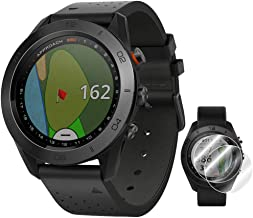 Garmin Approach S60 Golf Watch Premium Black Ceramic Bezel with Black Leather Band (010-01702-03) + Deco Essentials Approach S60 Screen Protector 2 Pack