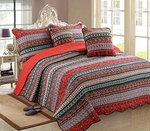 Luofanfei Indische Tagesdecke Boho Bettüberwurf Baumwolle 100% Orientalisch überdecke Steppdecke Gesteppt Quilt Bett überwurf Vintage Patchwork Muster Schlafzimmer Sofa Rot 150x200 cm