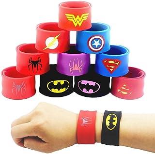 LATERN 10 stuks kleurrijke klikbanden voor kinderen, superhelden slap bands siliconen polsband party bag vulstoffen slap a...