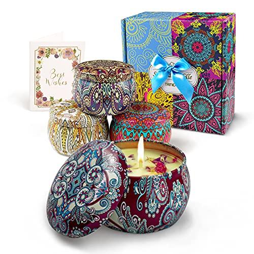 Kerzen Set für Frauen Geschenke - Tragbare Damen Duftkerzen mit Echten Blütenblättern, Natürliche Soja Wachs Kerzen, Valentinstag Muttertag und Geburtstag Geschenke für weibliche