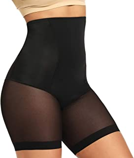 WOWENY Tummy Control Shapewear Shorts High Waist Slip Shorts for Under Dress Women Anti Chafing Underwear Panty(Large) Bla...