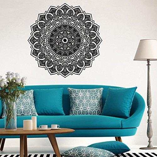 Vinilo adhesivo decorativo para pared, diseño de mandala para el hogar, dormitorio, yoga, estudio, color negro