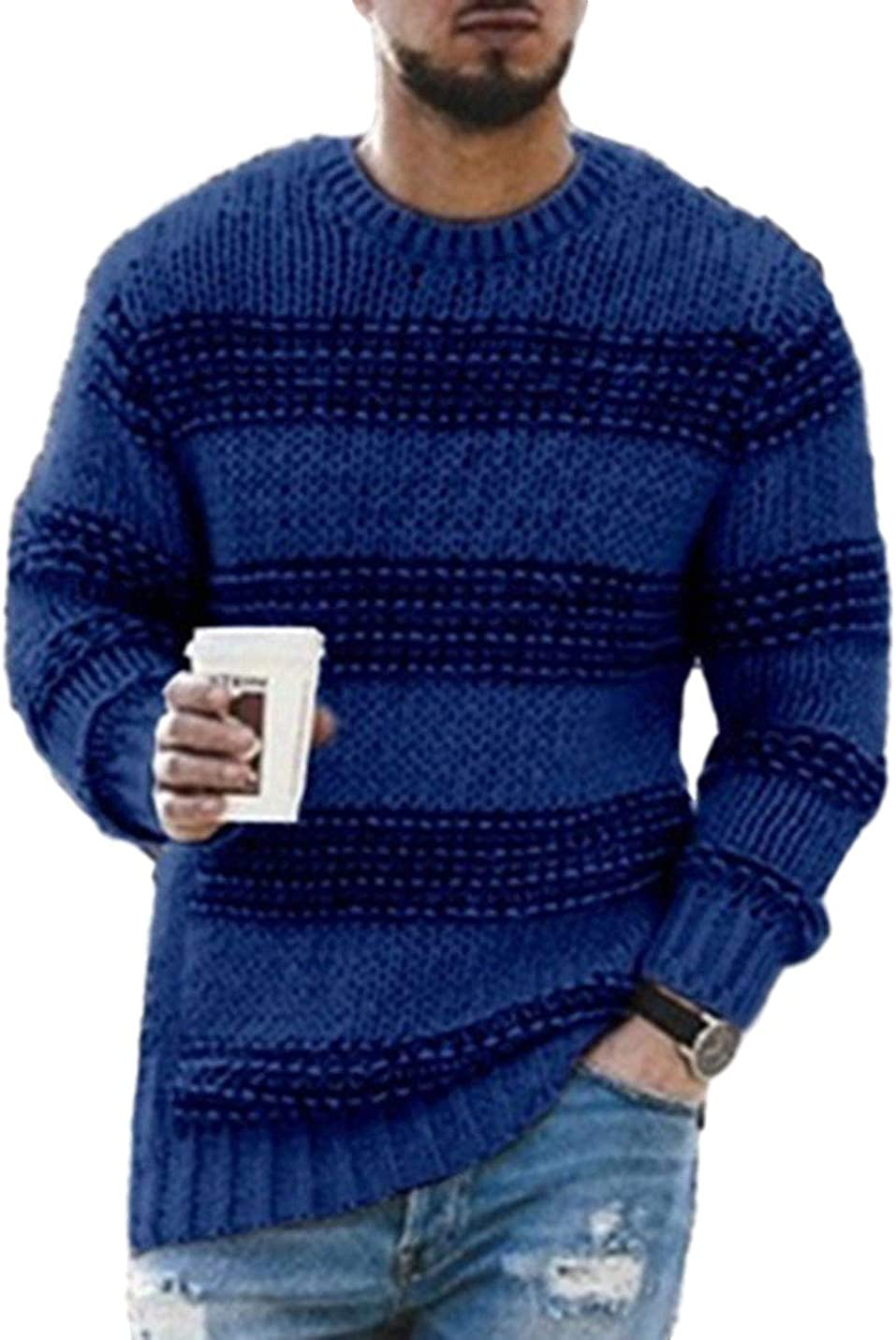 AMEBELLE Men's Comfy Casual Striped Knitted Pullovers Warm Crew Neck Sweater
