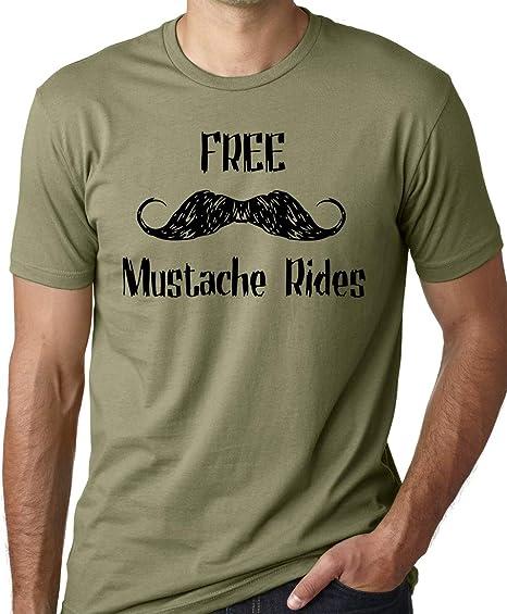 Free Rides Mustache Tshirt Funny Prank Joke Mens Womens Tee
