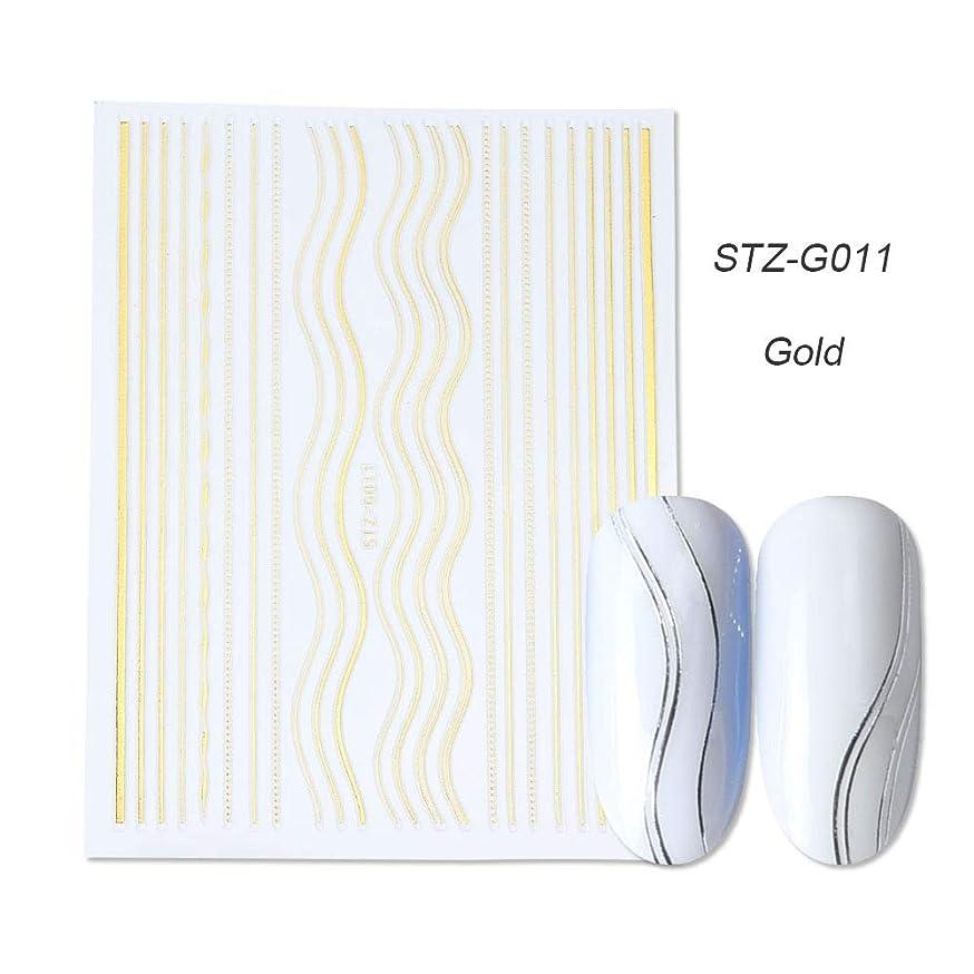 風が強いナイトスポット障害PYBHR 1PCSスライダー3Dネイルステッカーストレートカーブライナーストライプテープラップ幾何学的なネイルアートの装飾 (色 : STZ G011 Gold)