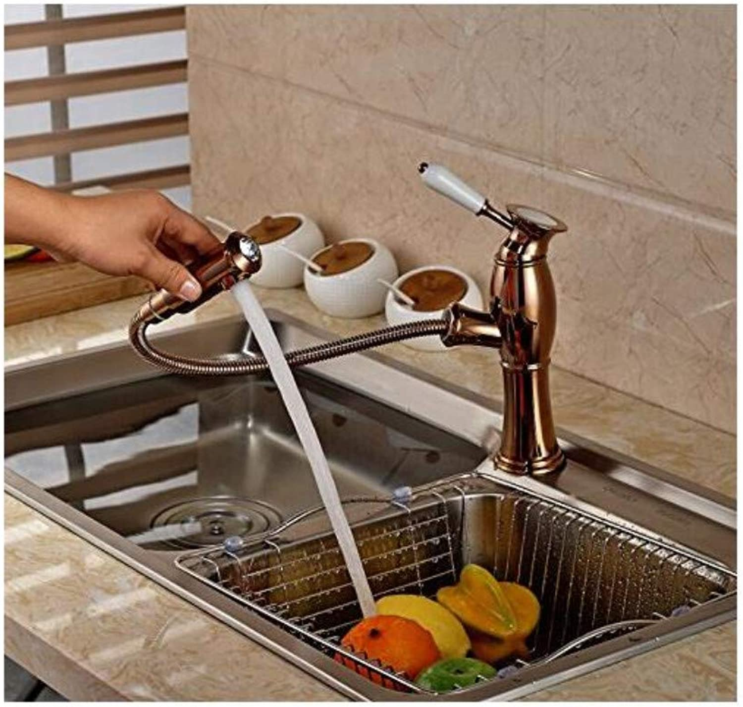 Vintage Plated Mixer Faucet Single Lever Kitchen Sink Faucet Deck Mounted One Handle Mixer Tap