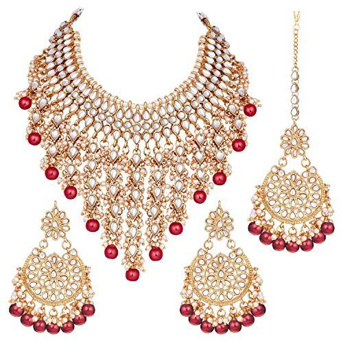 Aheli Indian Ethnic Kundan Necklace Earrings and Maang Tikka Set Traditional Wedding Festive Wear Jewelry for Women (Red)