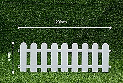 "V Protek Picket Fence Decorative Garden Fence, Plastic Garden Fencing White (4 Pack) 20"" L x6 H"